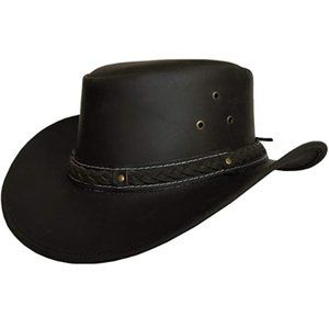 Mens Leather Cowboy Hat Down Under Outback